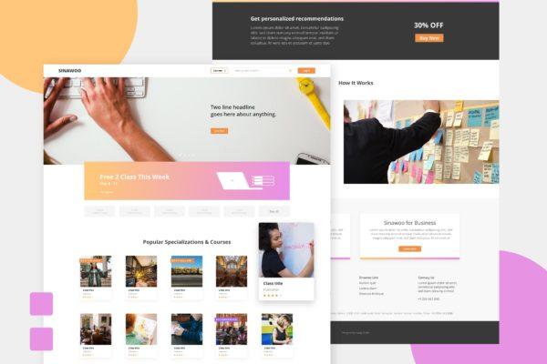 学习网站设计XD模板 SINAWOO – Online Learning Website XD Template