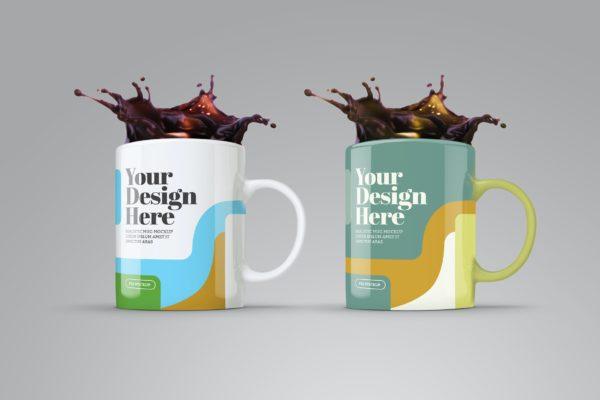飞溅咖啡杯设计图案样机模板v6 Mug Splash Mockup Mod 06