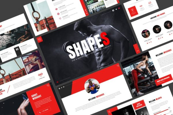 健身工作室演说推广PPT模板合集 Shapes – Gym & Bodybuilding Powerpoint Template
