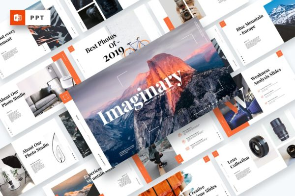 摄影工作室作品PPT幻灯片模板 Imaginary – Portfolio Powerpoint Template