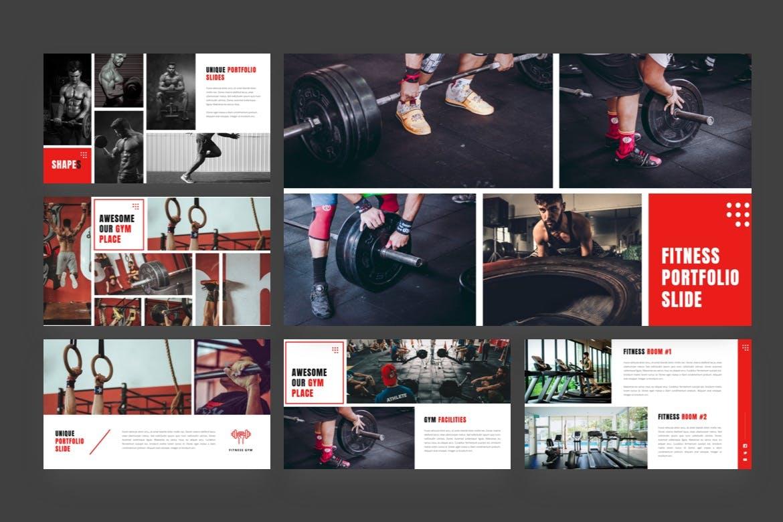 健身工作室演说推广PPT模板合集 Shapes – Gym & Bodybuilding Powerpoint Template设计素材模板