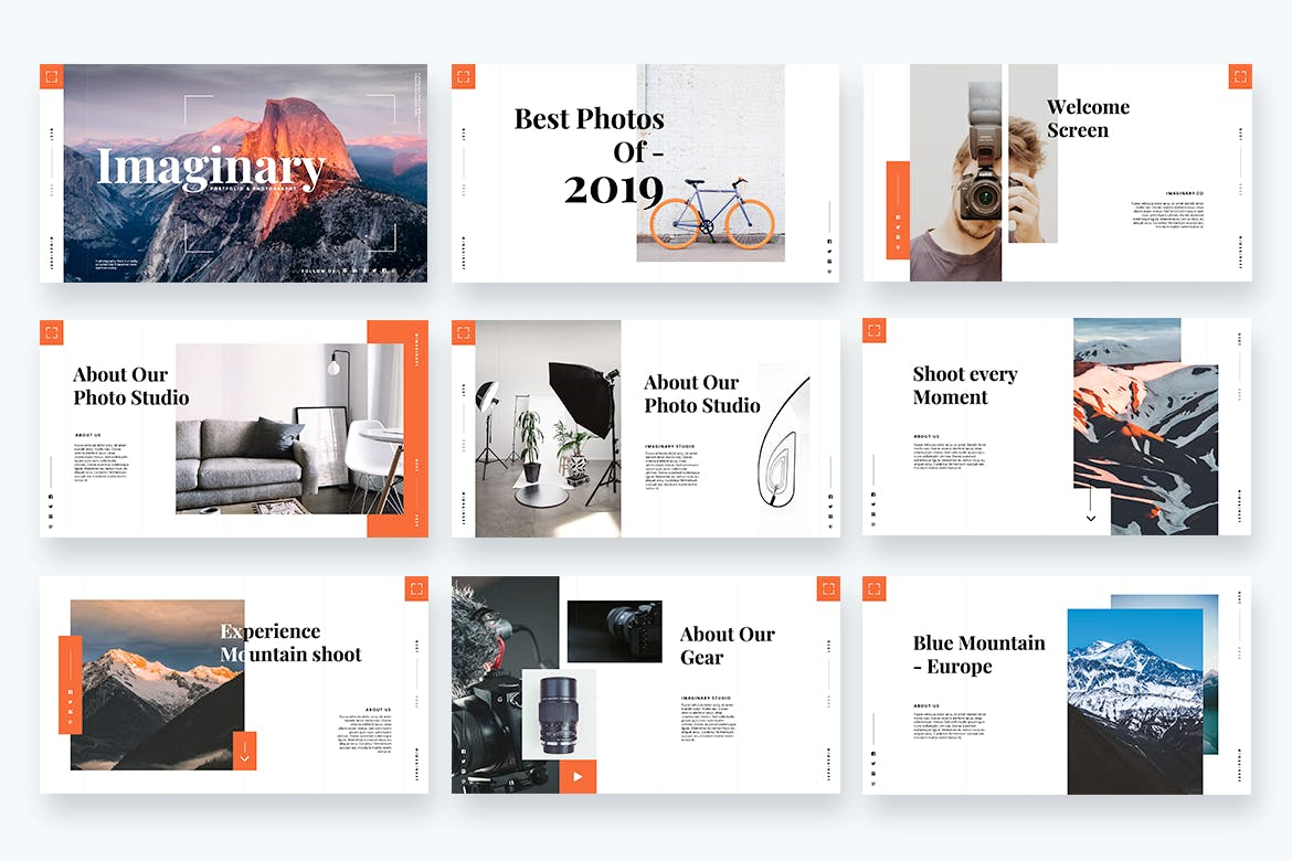 摄影工作室作品PPT幻灯片模板 Imaginary – Portfolio Powerpoint Template设计素材模板