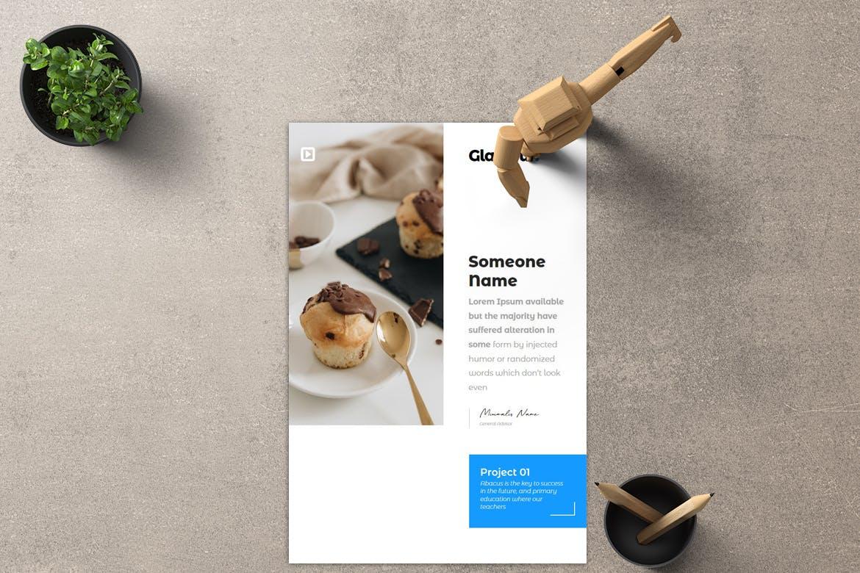 甜品烹饪介绍课程PowerPoint模板 Glamour – A4 Powerpoint Template设计素材模板