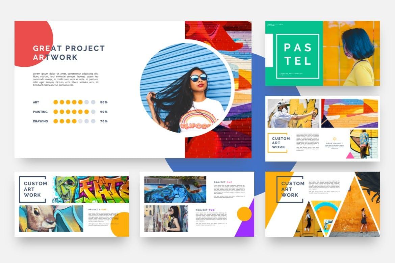 涂鸦设计波普艺术PPT幻灯片模板 Pastel – Pop Art & Graffiti Powerpoint Template设计素材模板