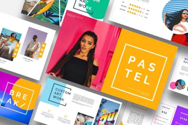 涂鸦设计波普艺术PPT幻灯片模板 Pastel – Pop Art & Graffiti Powerpoint Template