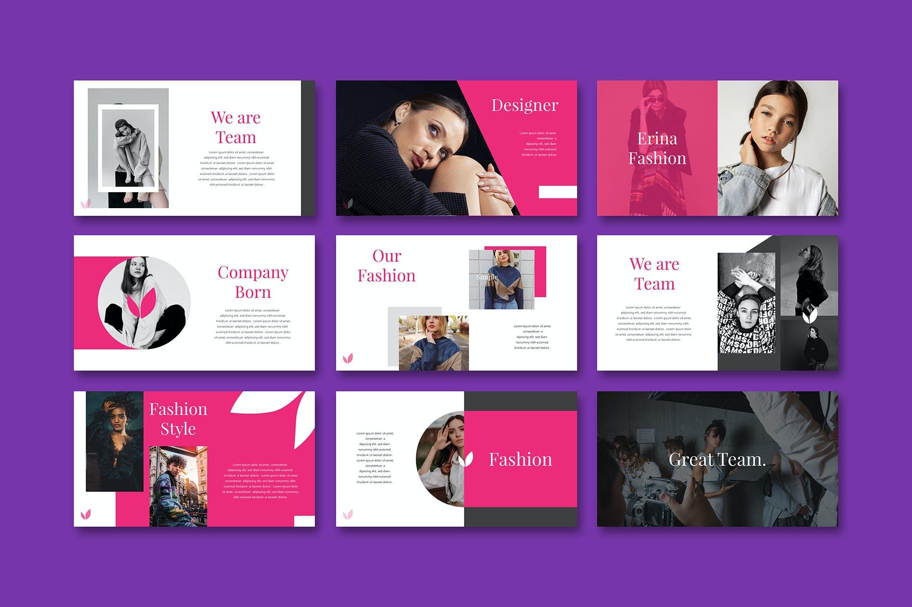 女性时尚演示文稿PPT模板 Erina – Powerpoint Template设计素材模板