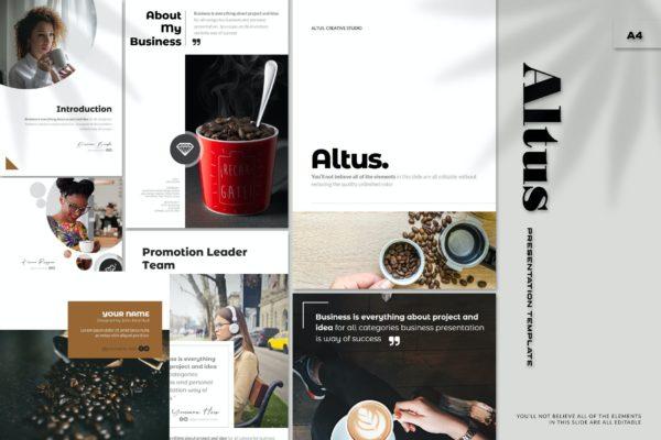 PowerPoint电子商务产品推广演示模板 Altus – A4 Powerpoint Template