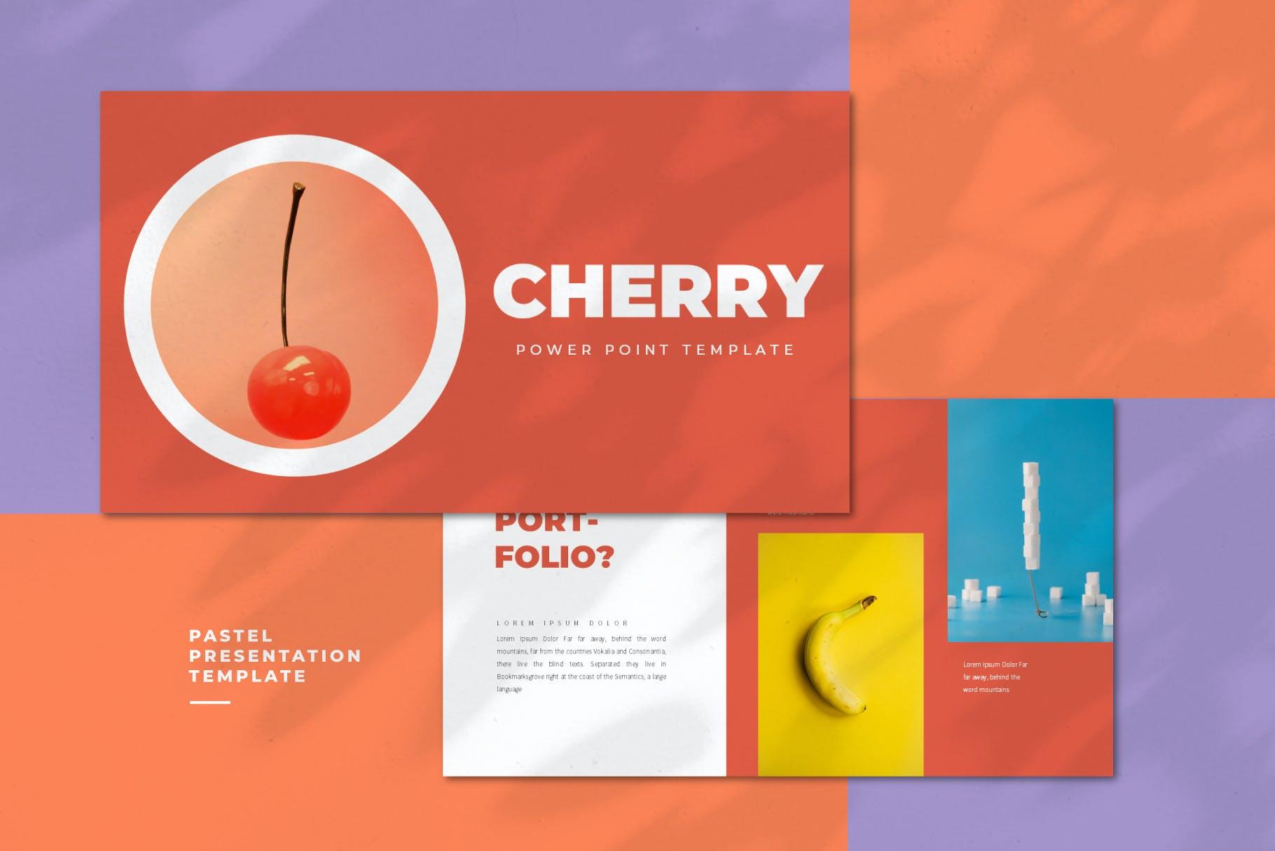 女装品牌樱桃主题PowerPoint演示模板 Cherry – Powerpoint Template设计素材模板