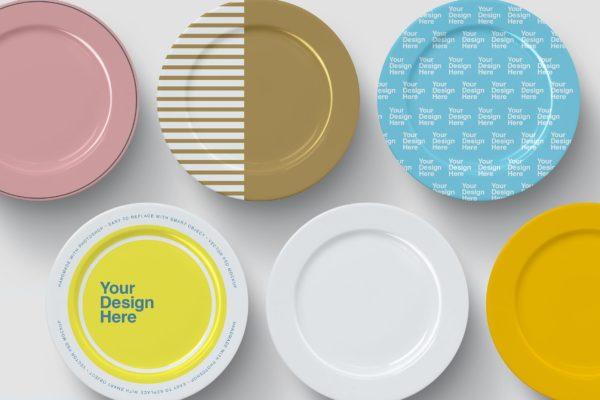 圆形餐盘设计图案视图样机 Dinner Plates Mockup – Top View