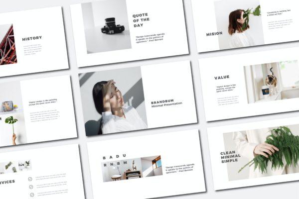 极简主义白色风格Powerpoint模板下载 Brandbum Powerpoint Template