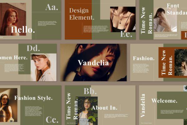 女装品牌故事高端PPT演示幻灯片模板 Vandelia – Powerpoint Template