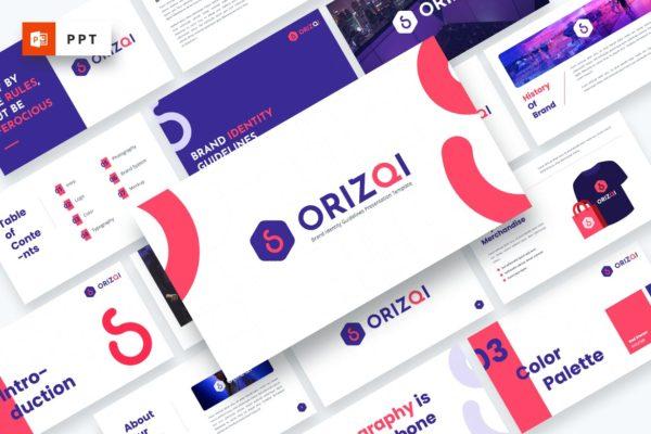 时尚品牌指南PowerPoint模板 Orizqi – Brand Identity Powerpoint Template