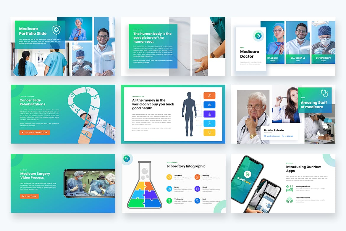 医疗保健多功能主题Powerpoint演示模板 Medicare – Healthcare Medical Powerpoint Template设计素材模板