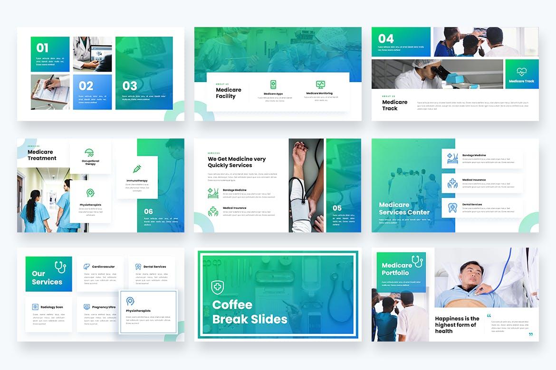 医疗保健多功能主题Powerpoint演示模板 Medicare – Healthcare Medical Powerpoint Template设计素材模板
