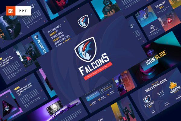 游戏项目/电子竞技宣传PPT幻灯片模板 Falcons – Esport & Gaming Powerpoint Template