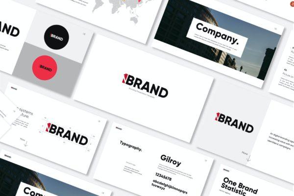 简约现代白色背景设计PPT商务演讲模板 One Brand – Powerpoint Template