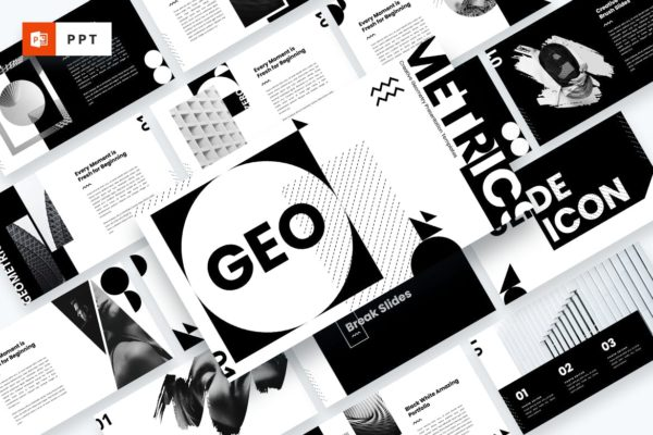几何元素多用途企业CEO演讲Powerpoint模板 GEO – Creative Geometry Powerpoint Template