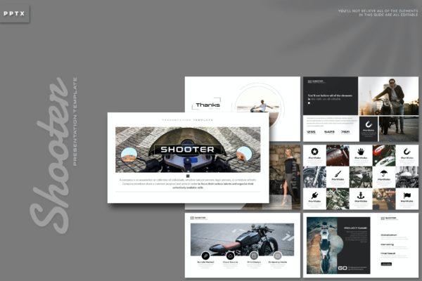 创意现代摩托车主题Powerpoint幻灯片模板 Shooter – Powerpoint Template