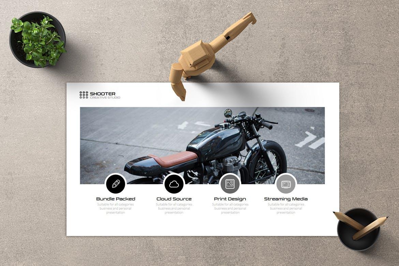 创意现代摩托车主题Powerpoint幻灯片模板 Shooter – Powerpoint Template设计素材模板
