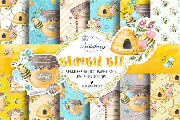 水彩数码纸大黄蜂图案设计素材 Bumble Bee digital paper pack