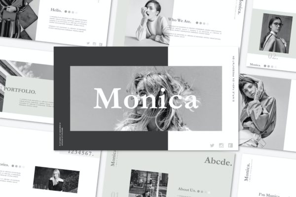 时尚极简主义风Powerpoint模板素材 Monica – Powerpoint Template