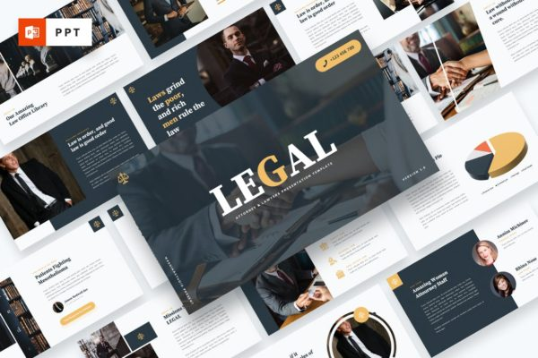 律师事务所/法律主题推广PPT幻灯片模板 LEGAL – Attourney & Lawyer Powerpoint Template