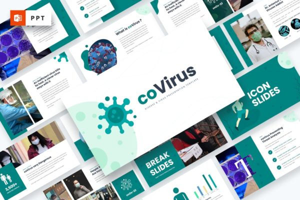 科普演讲预防新冠PowerPoint模板下载 Covirus – Disease & Virus Powerpoint Template