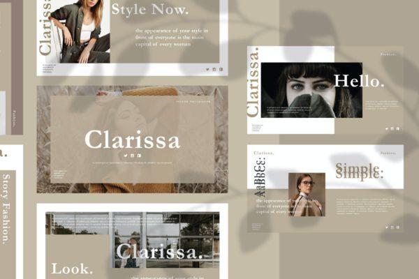 浅色时尚欧美风Powerpoint模板下载 Clarissa – Powerpoint Template