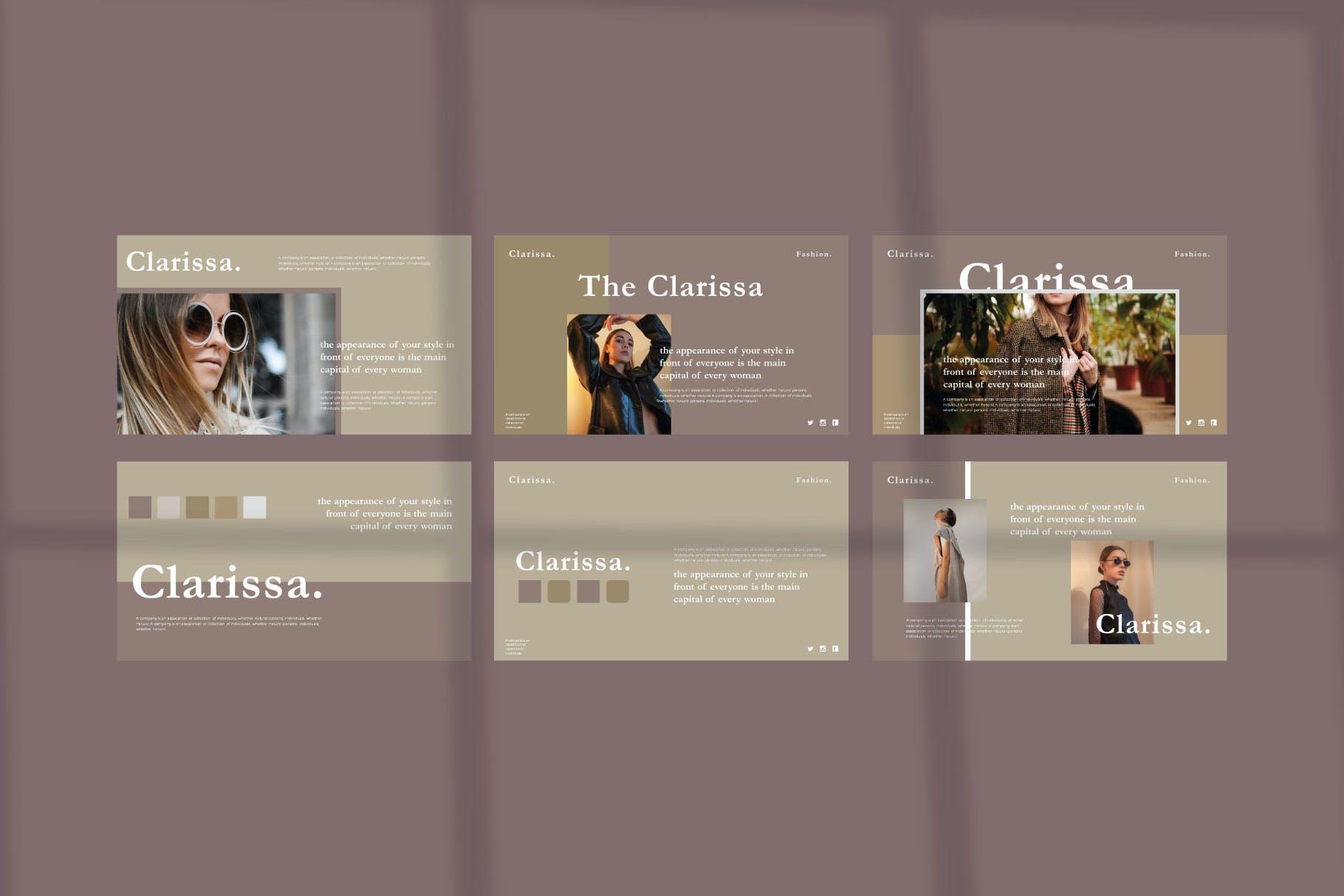 浅色时尚欧美风Powerpoint模板下载 Clarissa – Powerpoint Template设计素材模板