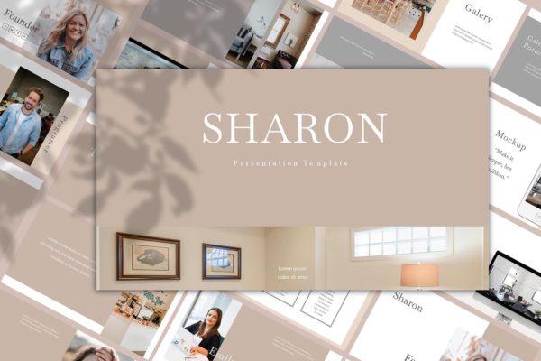 欧美风简洁时尚品牌产品展示PPT模板 Sharon – Powerpoint Template