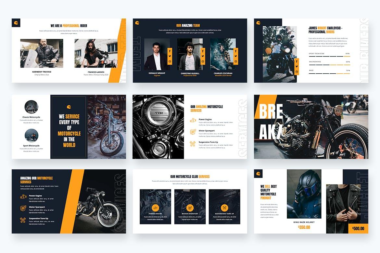 自行车销售&摩托车Powerpoint模板 Bikers – Motorcycle & Bike Powerpoint Template设计素材模板