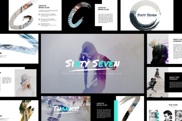 PowerPoint演示文稿创意多功能模板 Sixty Seven – Creative Brush Powerpoint Template