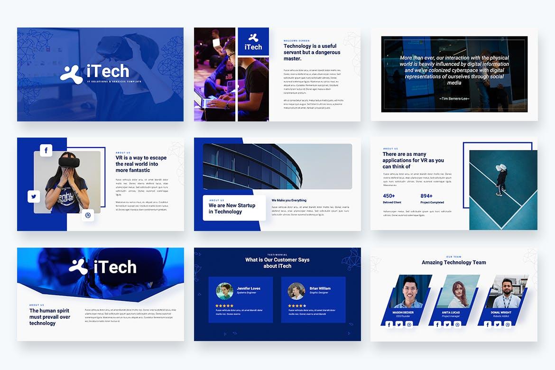 信息技术多功能推广Powerpoint模板 iTech – IT Solutions Services Powerpoint Template设计素材模板