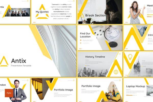 极简商务风格部门年度总结PPT幻灯片模板 Antix – Business Powerpoint Template