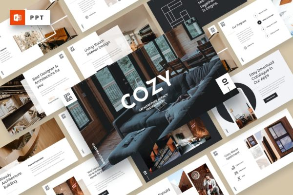 商品展示家具商城Powerpoint幻灯片模板下载 COZY – Architecture Agency Powerpoint Template