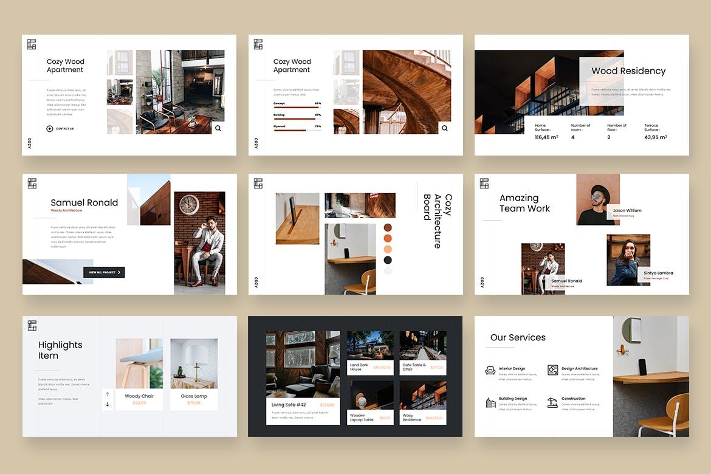 商品展示家具商城Powerpoint幻灯片模板下载 COZY – Architecture Agency Powerpoint Template设计素材模板