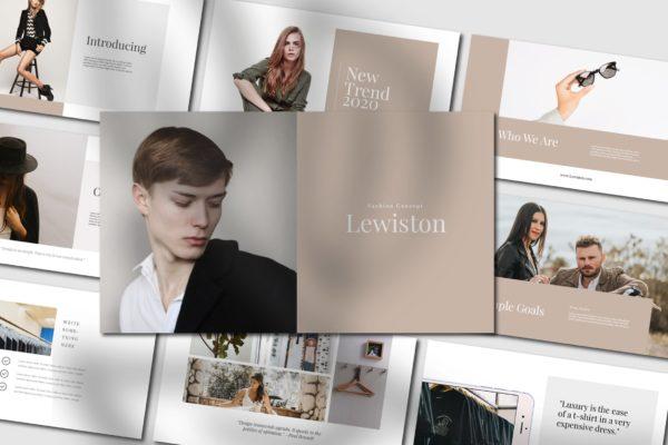 潮流服饰现代品牌工作报告PPT演示模板 Lewiston – Powerpoint Template