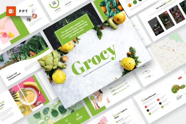 在线预售有机蔬果PPT演示文稿模板 Grocy – Grocery & Organic Food Powerpoint Template