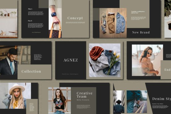 服装品牌欧美风营销PPT幻灯片模板 Agnez – Powerpoint Template