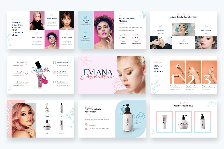 PPT幻灯片美容院主题模板下载 Eviana – Beauty & Cosmetic Powerpoint Template设计素材模板