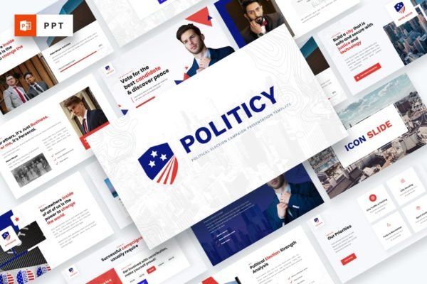 政治竞选简约排版Powerpoint幻灯片模板 Politicy – Political Election Powerpoint Template