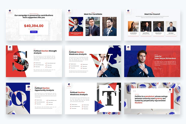 政治竞选简约排版Powerpoint幻灯片模板 Politicy – Political Election Powerpoint Template设计素材模板