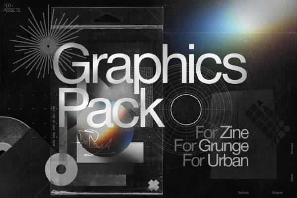 潮流高级抽象几何矢量图形全息海报背景光晕形状网格PSD画笔素材