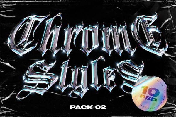 10个潮流金属水晶镀铬海报字体效果文字特效样式样机PSD设计素材