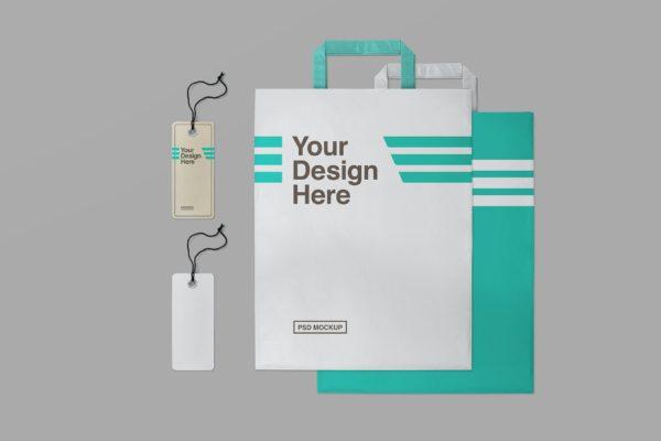 吊牌标签&购物纸袋设计样机模板 Shopping Paper Bag & Label Tag Mockups