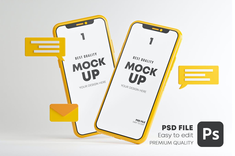 智能手机消息对话聊天App应用样机集 Messaging Conversation App Smartphone Mockup Set设计素材模板