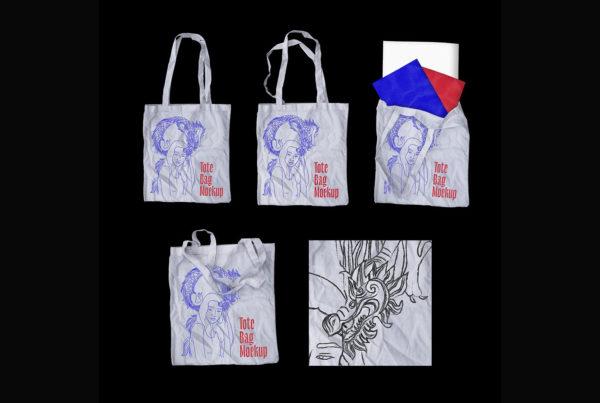 潮流高级手提袋帆布袋效果图PSD样机贴图素材 Tote Bag Mockup Pack