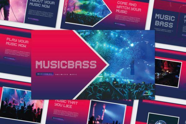 宣传幻灯片演示音乐演唱会PPT模板 MUSICBASS – Powerpoint Template
