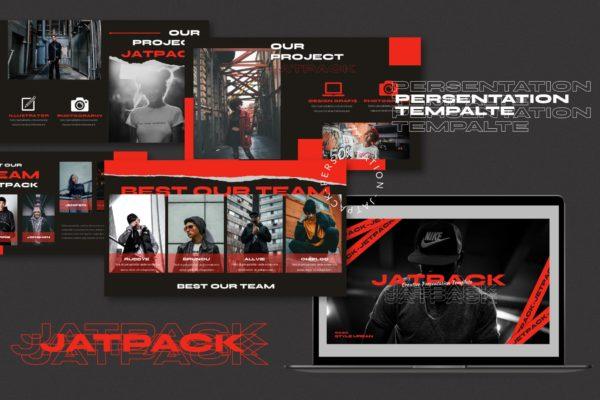 服装品牌红色主题推广PPT幻灯片模板素材 Jetpack – Powerpoint Template