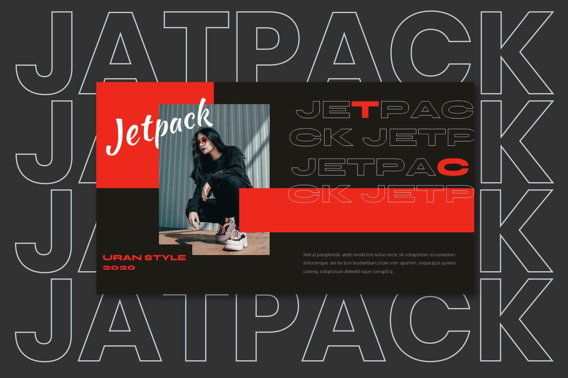 服装品牌红色主题推广PPT幻灯片模板素材 Jetpack – Powerpoint Template设计素材模板